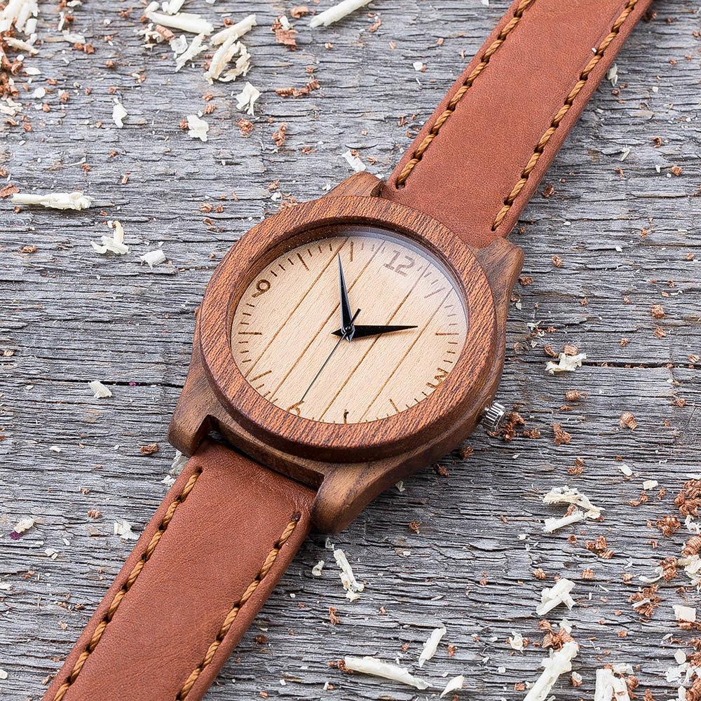 Деревянные часы  45 мм. Массив палисандра и сапеле. Терракотовый премиум ремешок из кожи. Любая гравировка на циферблате и задней крышке + открытка из дерева TwinsWatch-RosewoodSapeleTerracot