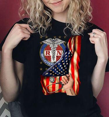 Personalized shirt,American Nurse Shirt, American Flag Nurse,Nurse Appreciation, Nurse T Shirt, Nurse Gift Ideas, Nurse Hero -front