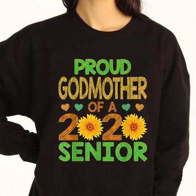Proud Godmother Of A 2020 Senior Graduation Sunflower Mommy T-Shirt