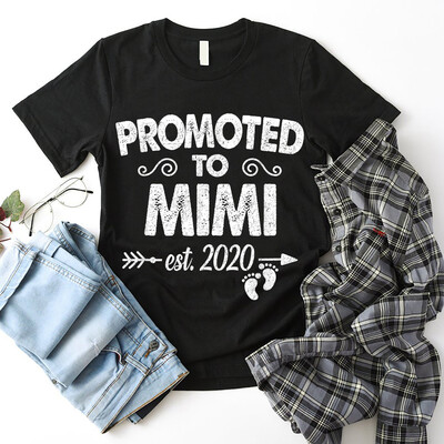 Promoted To Mimi Est.2020 Fathers Day Mother Day T-Shirt