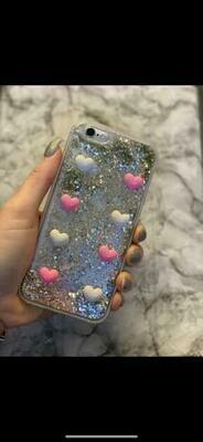 Pink N White Glitter Heart   Case