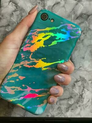 Turquoise Marble Iridescent/ Holographic Case