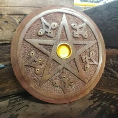 Wood Pentagram Incense Burner