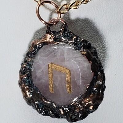 Uruz - Rose Quartz Electroformed Rune