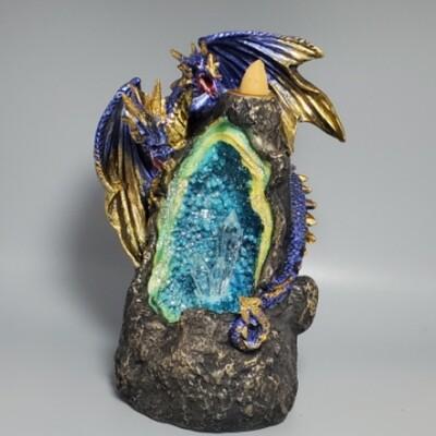 Dragon Geode Backflow Incense Burner With Color Changing Led Crystal