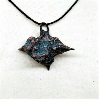Electroformed Devil's Head Pod OOAK Jewelry very blue