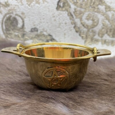 Cauldron Solid Brass with pentagram on side