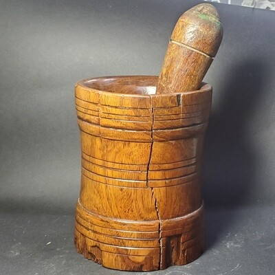 Early 20th Century Antique Collectable Wooden Mortar And Pestle Cracked