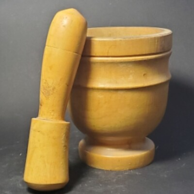 1940s Wooden Midcentury Collectable Mortar and Pestle