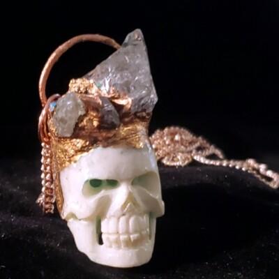 Skull King Electroformed Bone & Quartz Pendant