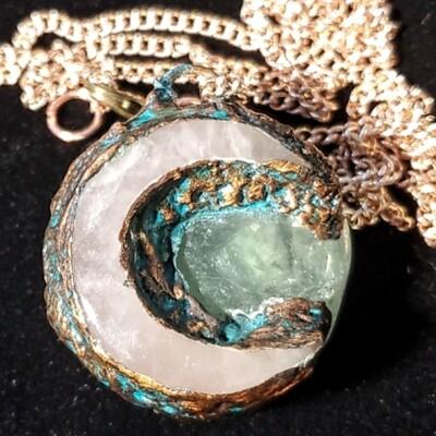 Moon Pendant Electroformed Copper, Rose Quartz, & Fluorite