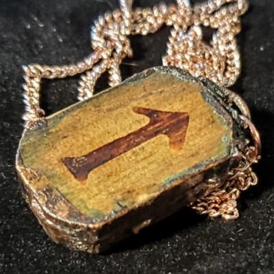 Rune - Tiwaz - Electroformed Copper On Wood