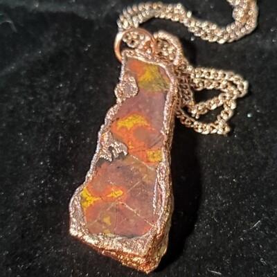 Polychrome Jasper Electroformed Copper Necklace