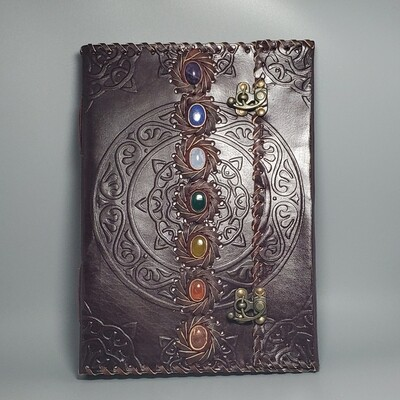 Chakra Stone | Crystal Healing  | Leather Journal | Grimoire
