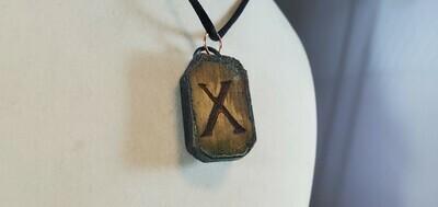 Copper & Wood Rune - Gifu - pendant