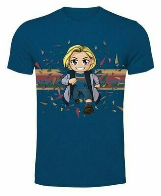 13th Doctor Kawaii Rainbow - Metro Blue T-shirt XXL