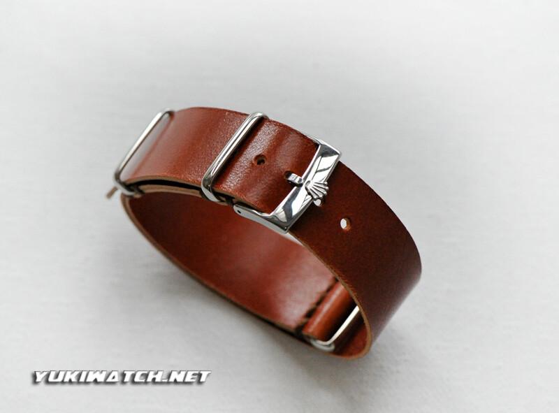 Rolex NATO handmade Italian Calfskin Honey Brown Leather Strap