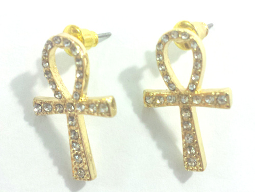 Ankh Stud Earrings (Gold Color)