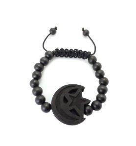 Star and Crescent Moon Adjustable Wooden Bead Bracelet - Black