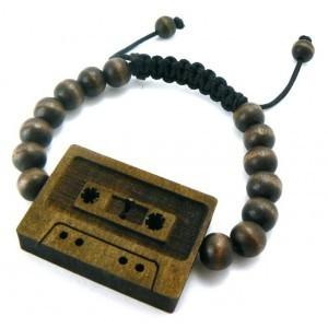 Vintage Cassette Tape Wooden Bracelet