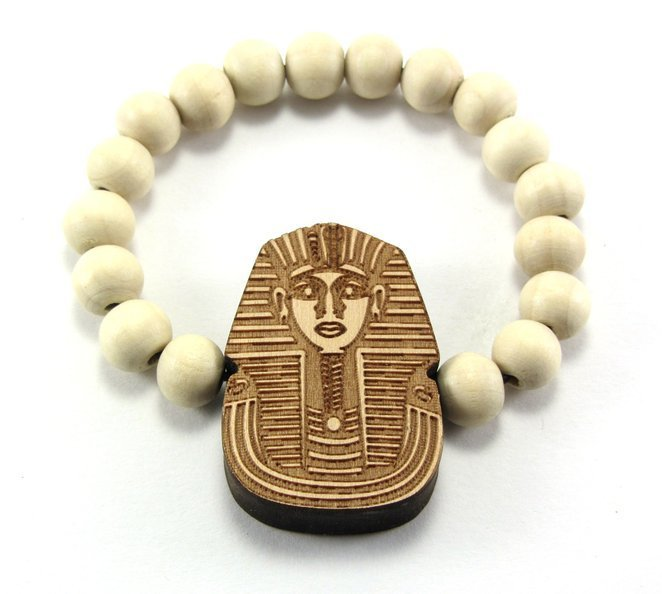 King Tut Pharaoh Wooden Bead Bracelet