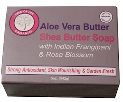 Tree of Life Organics Soaps​ - Aloe Vera Butter, Shea Butter Soap with Indian Frangipani & Rose Blossom