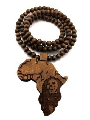 Afrika Wooden Pendant Beaded Necklace/Chain
