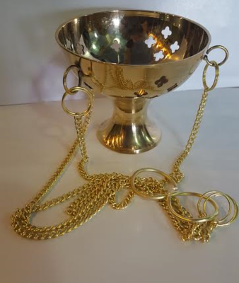Brass Hanging Gold Incense Burner (Medium)