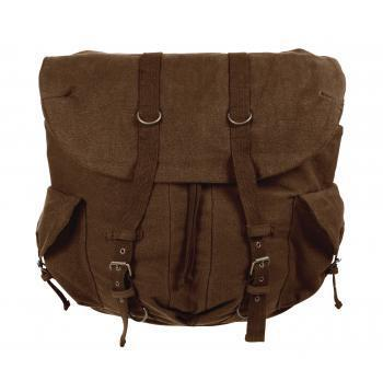 Vintage Weekender Canvas Backpack (Earth Brown, Black, Tan and Green color)