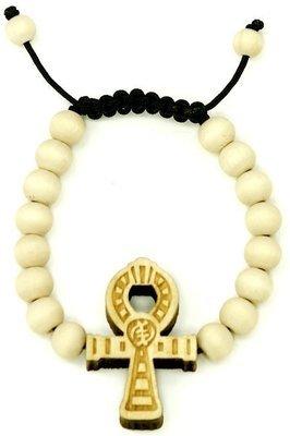 Ankh Wooden Bead Bracelet