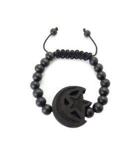 Star and Crescent Moon Adjustable Wooden Bead Bracelet - Black