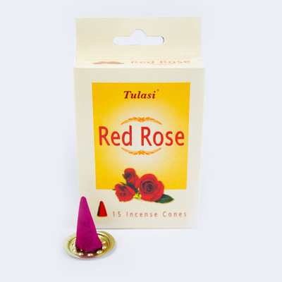 Tulasi Red Rose 15 Incense Cones (per pack)