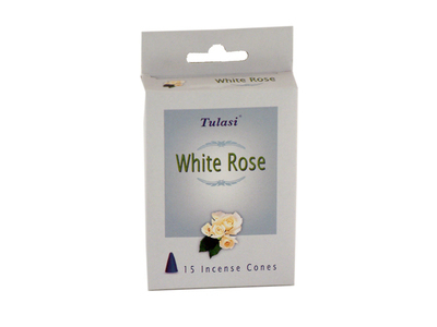 Tulasi White Rose 15 Incense Cones (per pack)