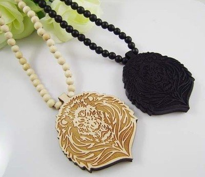 Lion Face Wooden Necklace