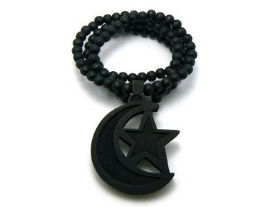 Moon and Star Wooden Necklace
