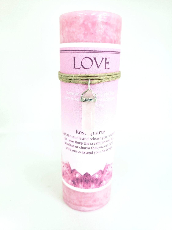 Love Candle with Rose Quartz Pendant