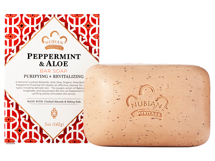Nubian Heritage Peppermint & Aloe Bar Soap - 6 Pack