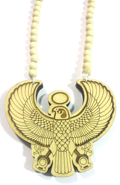 Horus (Heru) Wooden Necklace
