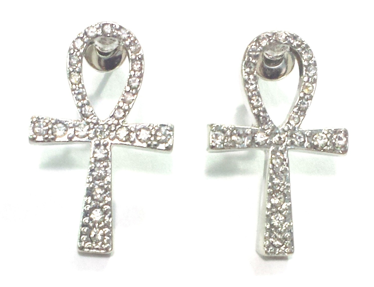 Ankh Stud Earrings (Silver Color)