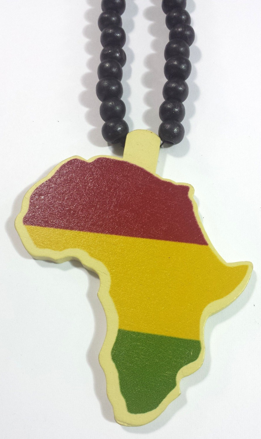 Red, Gold & Green Africa Map Necklace