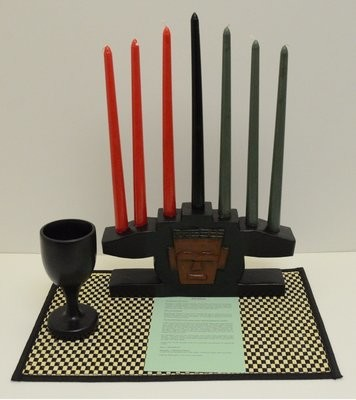 Kwanzaa Mask Candleholder & Celebration Set (Black) - Made in Ghana