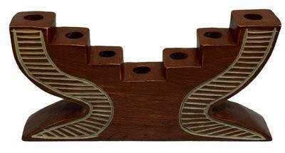 Kwanzaa Step Candleholder (Brown) - Made in Ghana