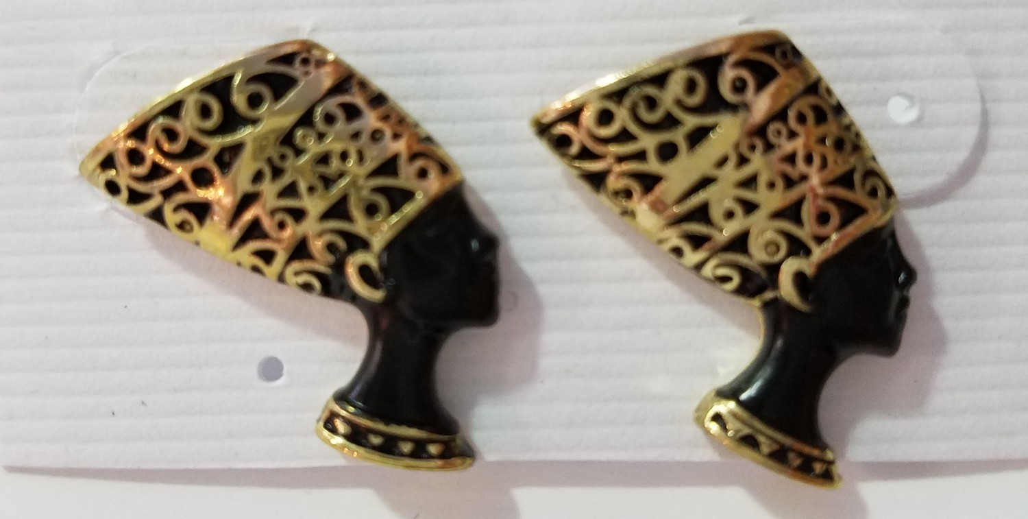 Black & Gold Nefertiti Stud Earrings