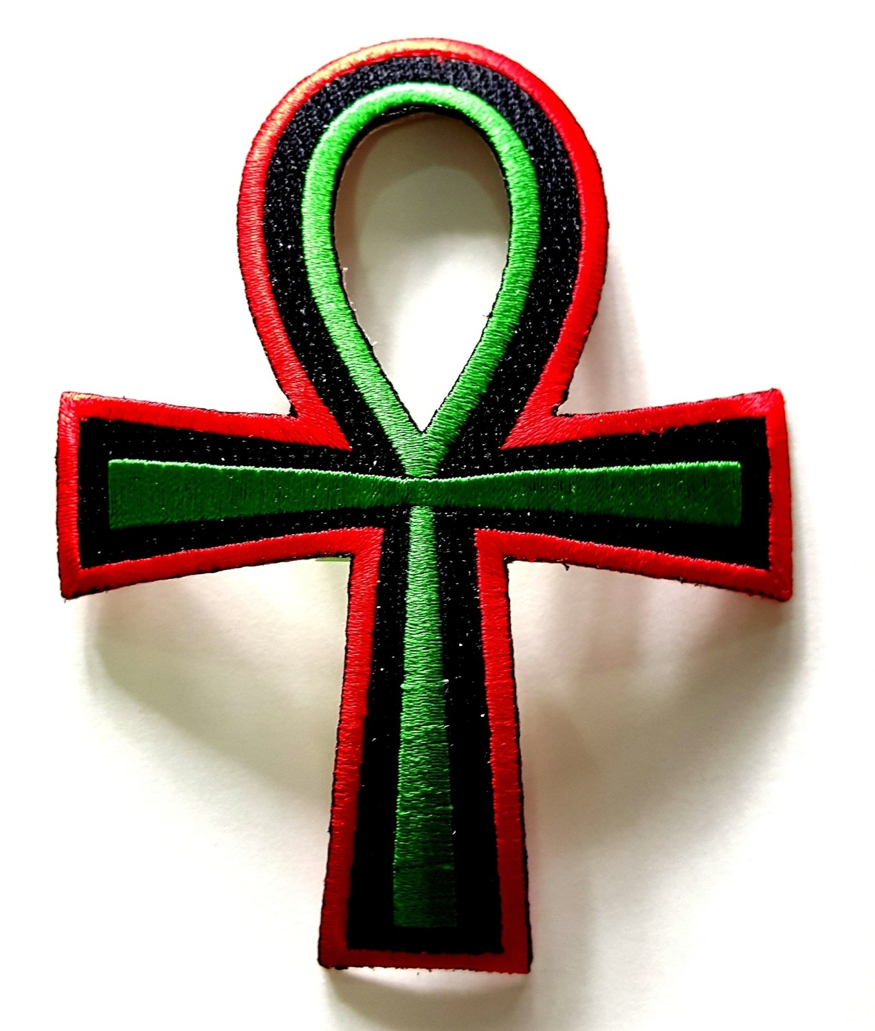 Red, Black & Green Iron On Patch