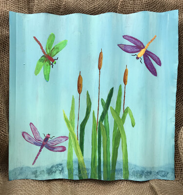 Large Painted Corrugated Wall Hangings