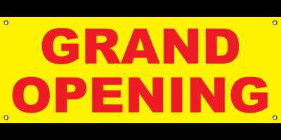 YELLOW GRAND OPENING BANNER 2' X 4'