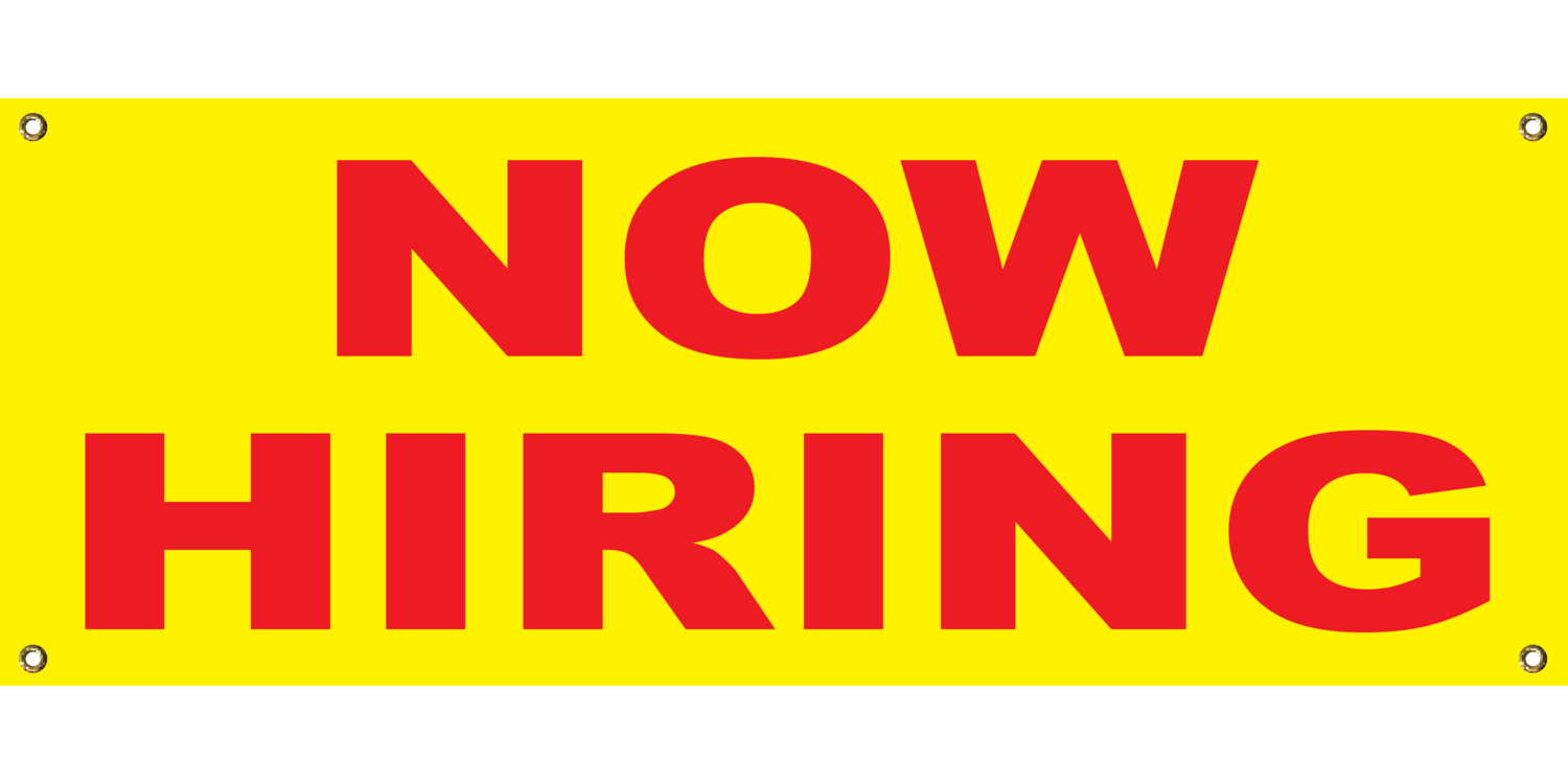 YELLOW NOW HIRING 2' X 4'