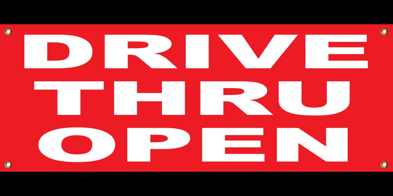 RED DRIVE THRU OPEN BANNER