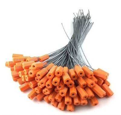 Cable Security Seal  OTL Pull Tight Metal Cable Lock Wire Rope Seal Hexagonal Seal 100 PCS Orange Color