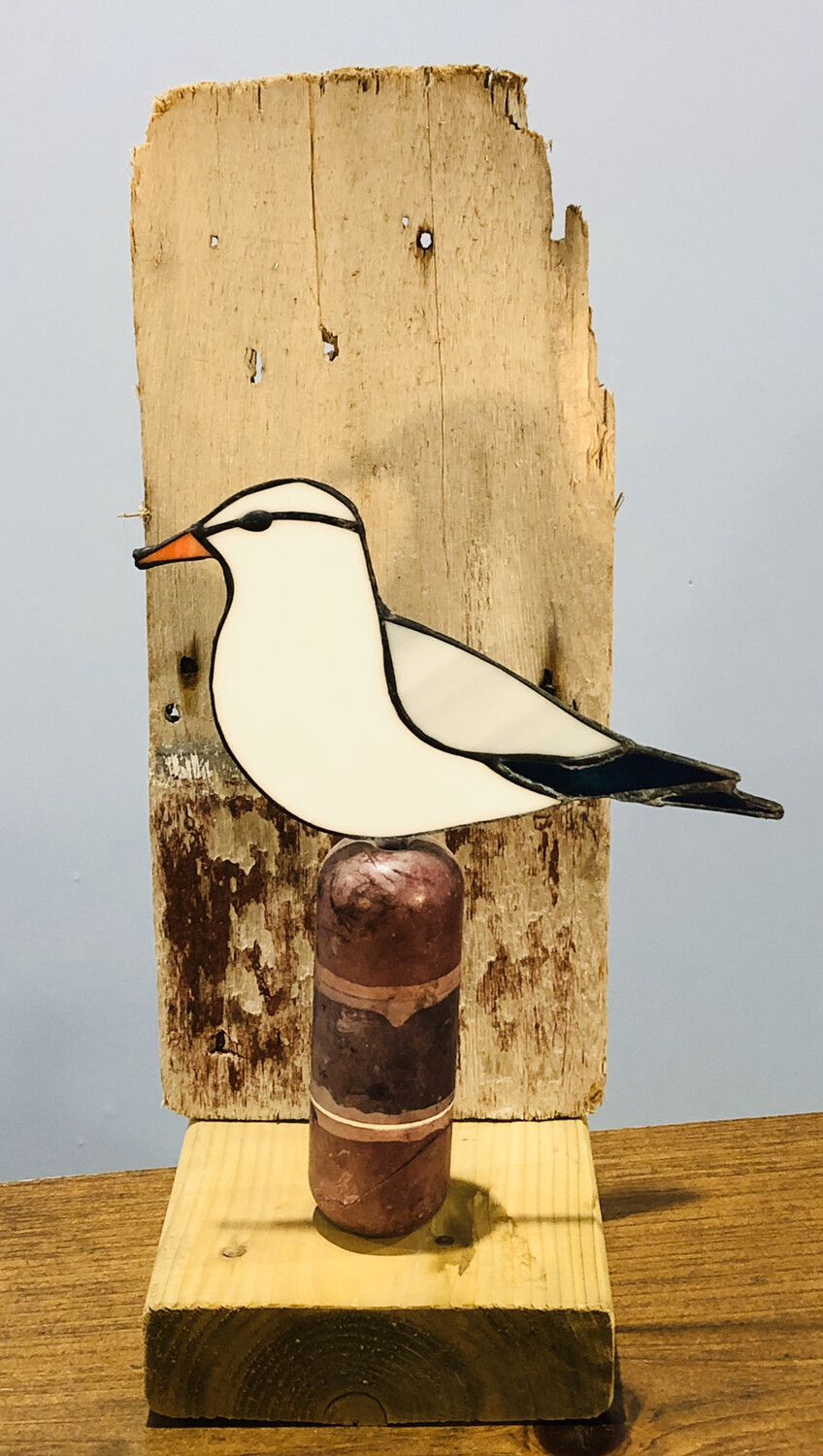 Stained Glass Seagull on Driftwood
